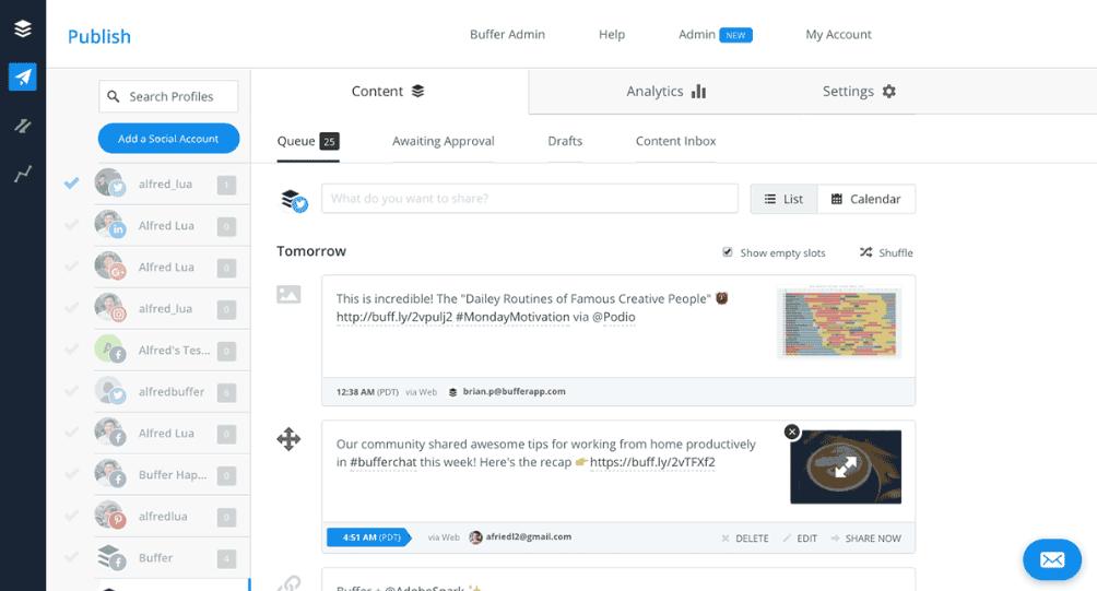пользовательский интерфейс Buffer с открытой вкладкой Content