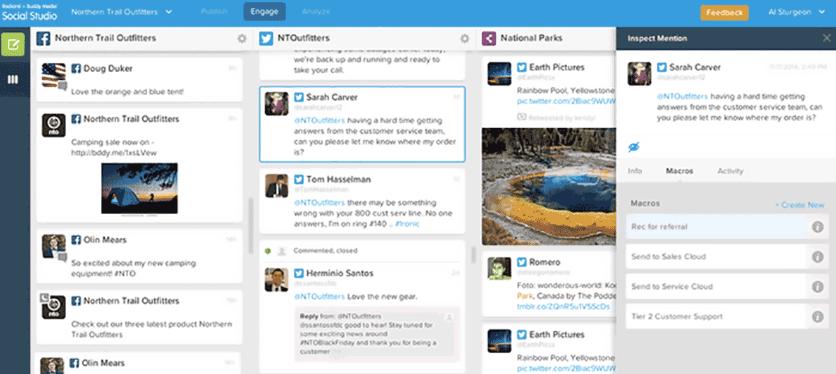 пользовательский интерфейс Salesforce Social Studio