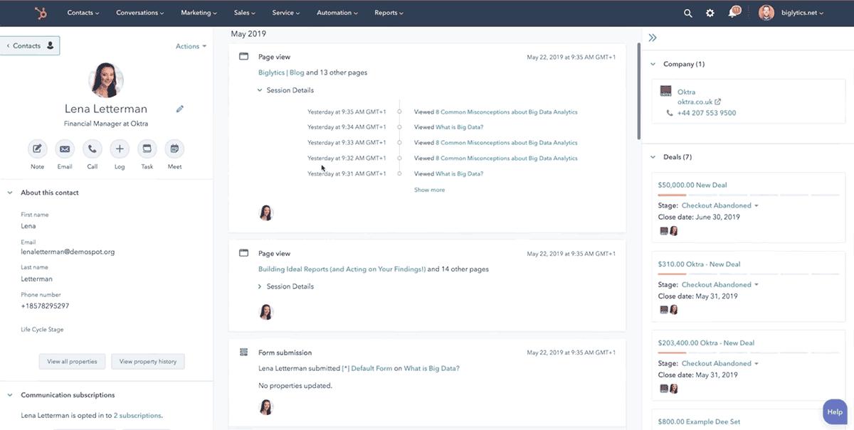 данные о контакте в HubSpot